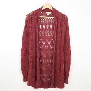 Lucky Brand Rust Cranberry Red Open Knit Cardigan